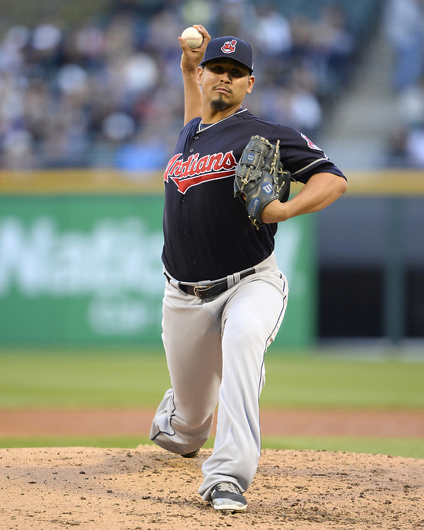 CHICAGO - APRIL 22:  Carlos Carrasco #59 of the Cleveland Indians pitches against the Chicago White Sox on April 22, 2017 at Guaranteed Rate Field in Chicago, Illinois.  The Indians defeated the White Sox 7-0.  (Photo by Ron Vesely)   Subject:  Carlos Carrasco