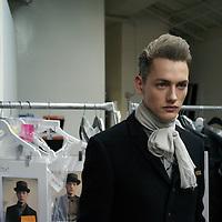 New York fashion week. Robert Geller runway show. German-born Geller won the GQ and FCDA Best New Menswear Designers Award contest. Runway at Focus.