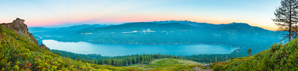 """Donner Lake Sunset 32"" - A panoramic photograph of Donner Lake in Truckee, California. Shot on July 4th, shortly before the fireworks show."