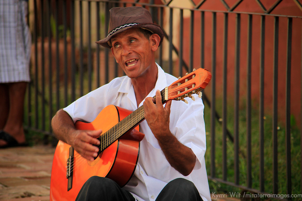 Central America, Cuba, Trinidad. Guitar Player in Trinidad.