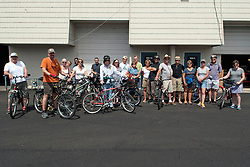 Biking to Art. (L to R: Anthony Hickman, Susan Kelly, Pam Hickman, Danielle Hurd, Ann Guardiola, Derek Hurd, Sara Hill, Matt Wilson, James Wilson, Jodi Eichelberger, Steven Gossett, Goldy, Laurie Barrera, Susan Madacsi, Trish Mizuta).<br />