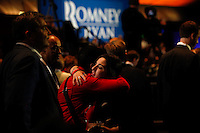 Two attendees at the Mitt Romney election night rally in Boston after the election was called in favor of President Barack Obama at the Mitt Romney election headquarters  on November 6, 2012. UPI/Matthew Healey
