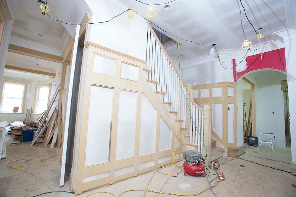 London, Ontario ---10-07-28--- Bonnie Pierotti purchased this old 18th century home in a historic area of London, Ontario from a sorority and is restoring and updating it after years of neglect and countless parties.   A new staircase has been added where one had been removed decades before to accommodate another bedroom.<br /> GEOFF ROBINS The Globe and Mail