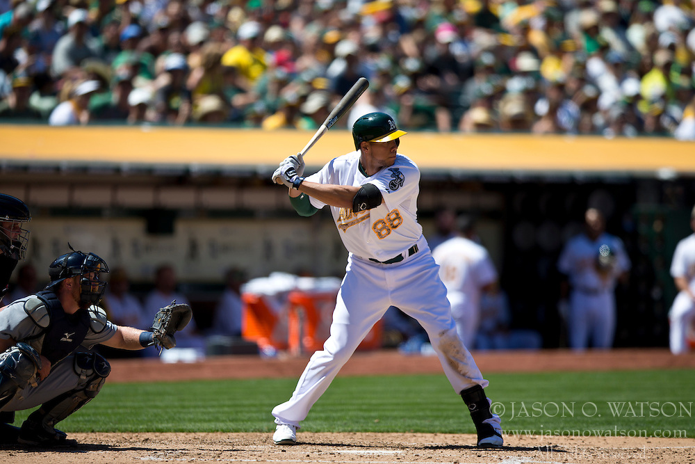 OAKLAND, CA - MAY 26:  Kyle Blanks #88 of the Oakland Athletics at bat against the Detroit Tigers during the fifth inning at O.co Coliseum on May 26, 2014 in Oakland, California. The Oakland Athletics defeated the Detroit Tigers 10-0.  (Photo by Jason O. Watson/Getty Images) *** Local Caption *** Kyle Blanks