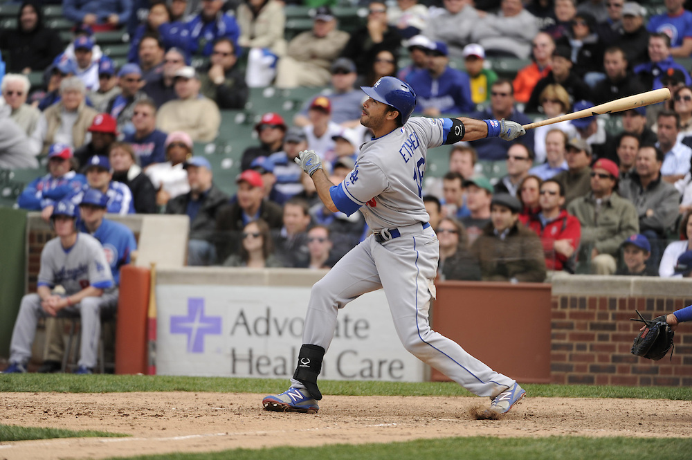 CHICAGO - MAY  04:  Andre Ethier #16 of the Los Angeles Dodgers bats against the Chicago Cubs on May 4, 2012 at Wrigley Field in Chicago, Illinois.  The Cubs defeated the Dodgers 5-4.  (Photo by Ron Vesely)   Subject:  Andre Ethier
