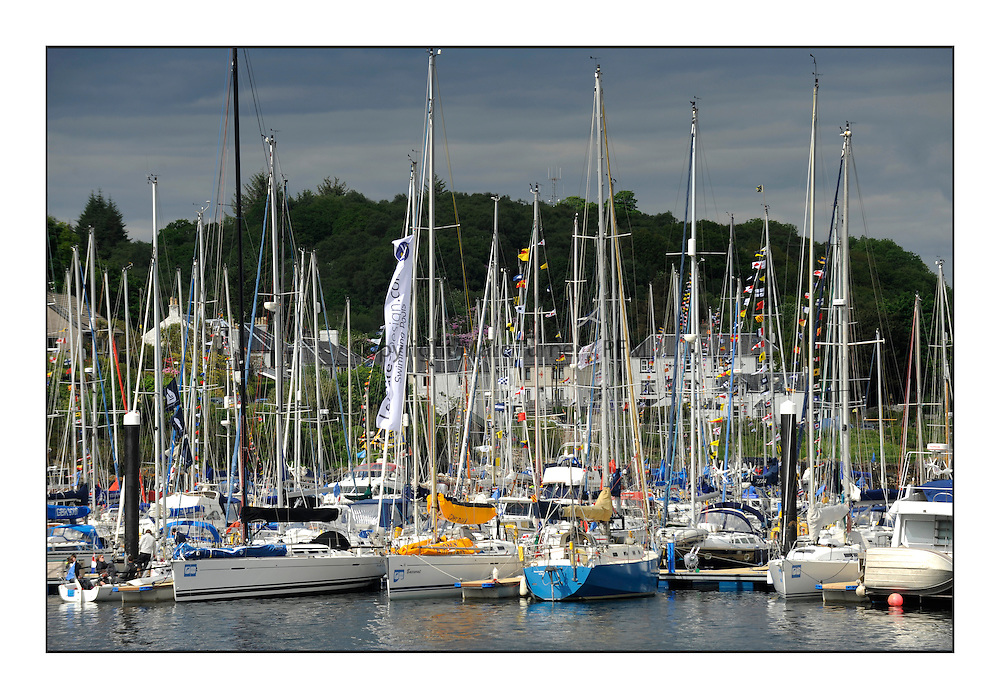 Brewin Dolphin Scottish Series 2012, Tarbert Loch Fyne - Yachting - Day 3 ..Boats in Tarbert Harbour Dressed overall. .