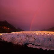 Sunrise view of enormous Perito Moreno Glacier in Parque Nacional las Glaciares, Patagonia, Argentina.