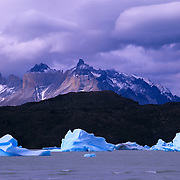 Las Cuernos (the Horns) loom high above Lago Gray in Torres del Paine National Park, Patagonia, Chile.