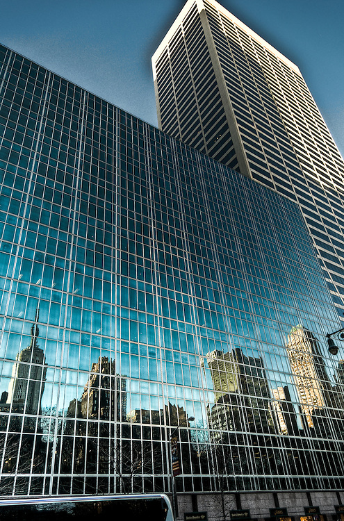Reflections of Manhattan skyscrapers