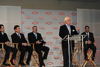 Chevrolet Indy Car engine announcement.  Roger Penske, Randy Bernard, Tom Stephens, Chris Perry, Helio Castroneves