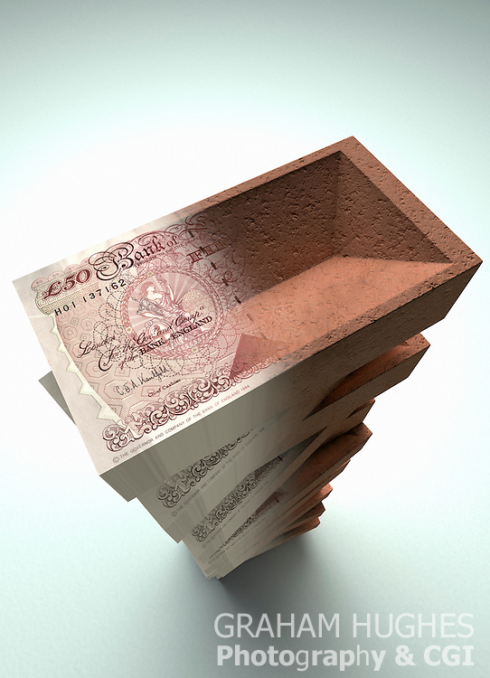 Pile of building bricks merging into large stack of british £50 bank notes.
