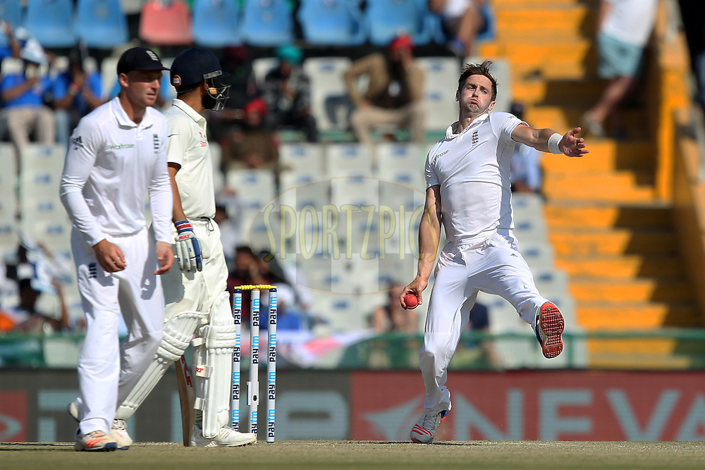 Chris Woakes of England bowls during day 2 of the third test match between India and England held at the Punjab Cricket Association IS Bindra Stadium, Mohali on the 27th November 2016.Photo by: Prashant Bhoot/ BCCI/ SPORTZPICS