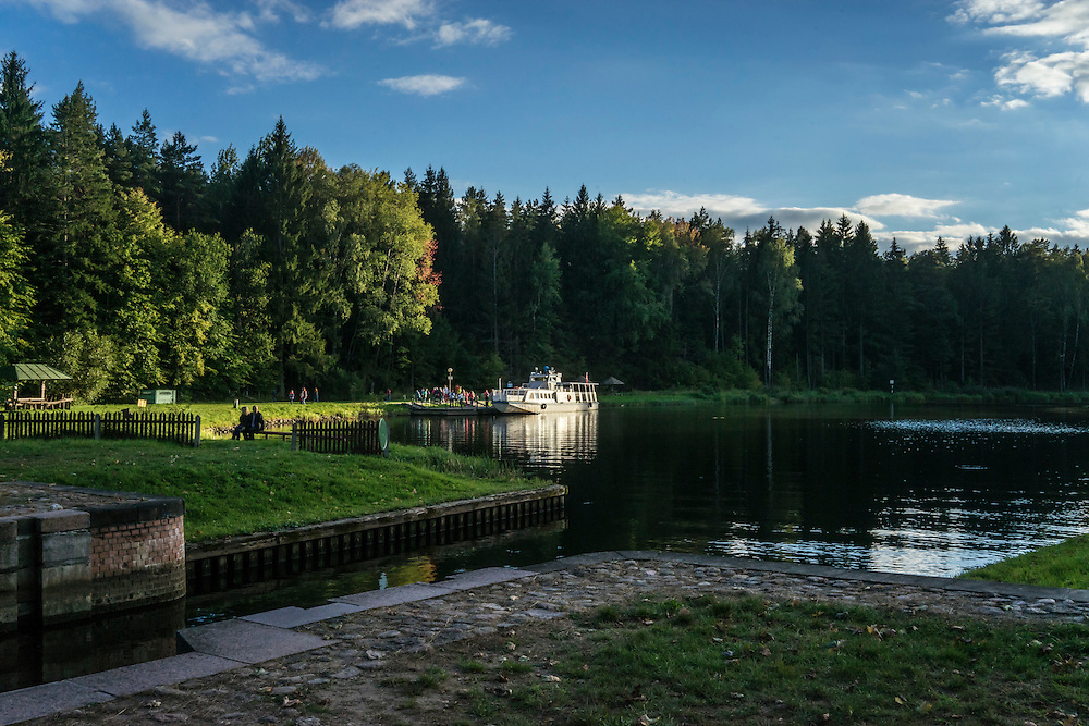 A boat on the Augustów Canal on Saturday, September 17, 2016 in Grodno, Belarus.