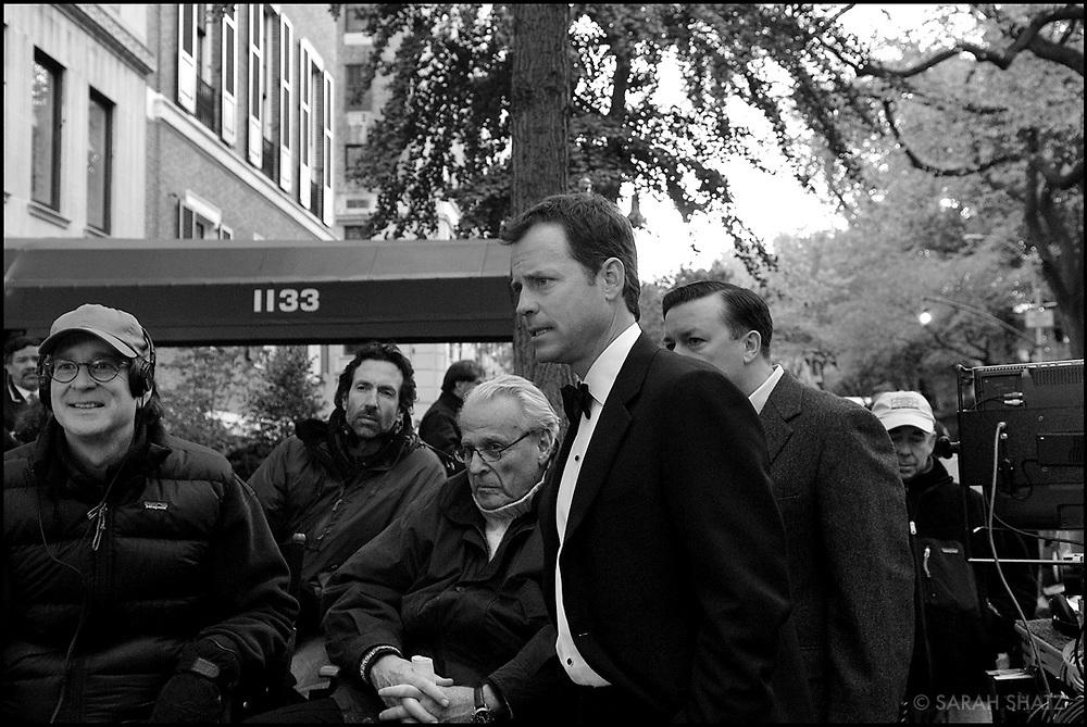 "David Koepp, Gavin Polone, William Goldman, Greg Kinnear, Ricky Gervais, Bruce MacCallum on the set of ""Ghost Town"" (Dir: David Koepp, 2008)"
