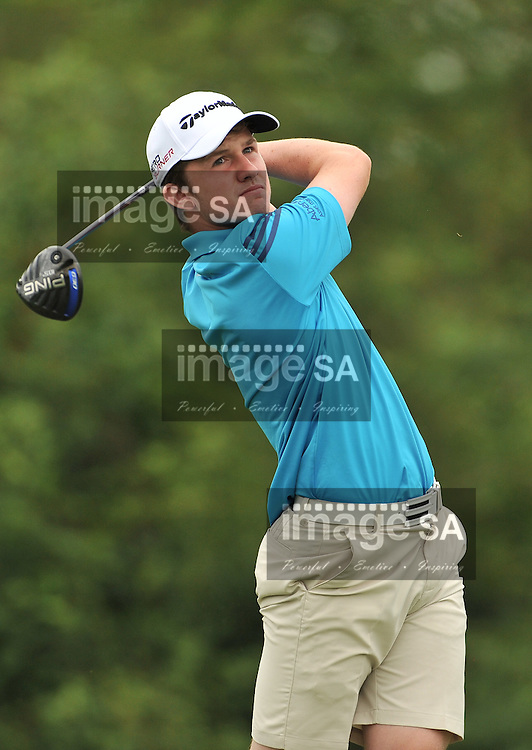 MALELANE, SOUTH AFRICA - Wednesday 18 February 2015, Conner Syme of Scotland tees off on the 4th during the first round foursomes of the annual Leopard Trophy, a two day test between teams of the South African Golf Association and the Scottish Golf Union, at the Leopard Creek Golf Estate.<br /> Photo Roger Sedres/ Image SA