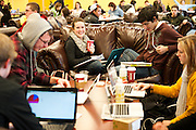 Studying in Crosby during finals week. <br /> Photo by Rajah Bose