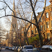 Sunset in Park Slope, Carrol street, with brownstones.