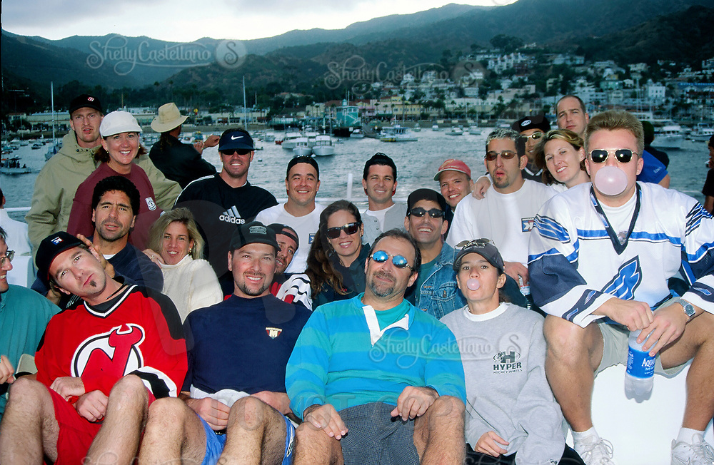 3 October 1998: Outdoor roller hockey in-line skating rink on Catalina Island, Catalina, Los Angeles County California. Group of players on the Catalina Flyer going back to Newport Beach on a boat.