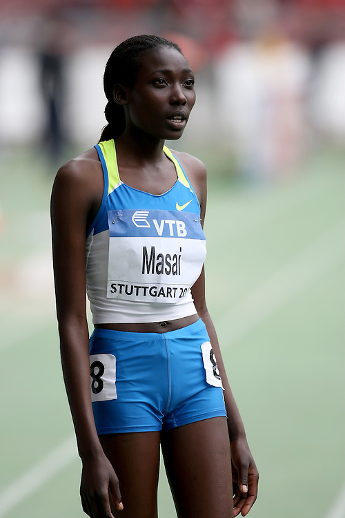 (Stuttgart, Germany---14 September 2008) Linet Chepkwemois Masai of Kenya running to fifth in the 3000m at the 2008 World Athletics Final. [Copyright Sean W. Burges/Mundo Sport Images, 2008.]