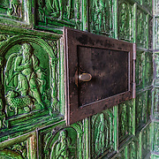 This tiled 1600s stove (obtained from a house called Zum Maieriesli in Stein) has been installed in the Upper Chambers of Abbot Jodokus Krum (1460-1490) at St. George's Abbey (Kloster Sankt Georgen) in Stein am Rhein village, Switzerland. St. George's Benedictine monastery was founded around 1007 on the banks of the Rhine at the western end of Lake Constance. The fascinating Klostermuseum is one of Switzerland's most important historic buildings from the late Middle Ages and early Renaissance, built in the 1300s to 1500s.