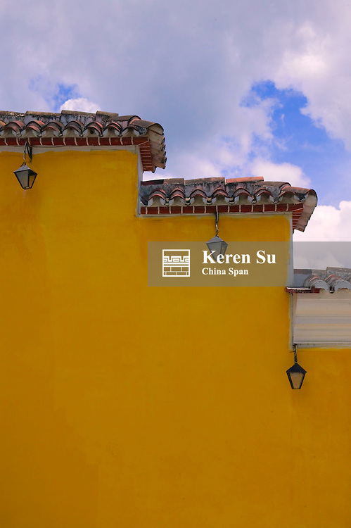 Colonial architecture with yellow wall, Antigua, Guatemala