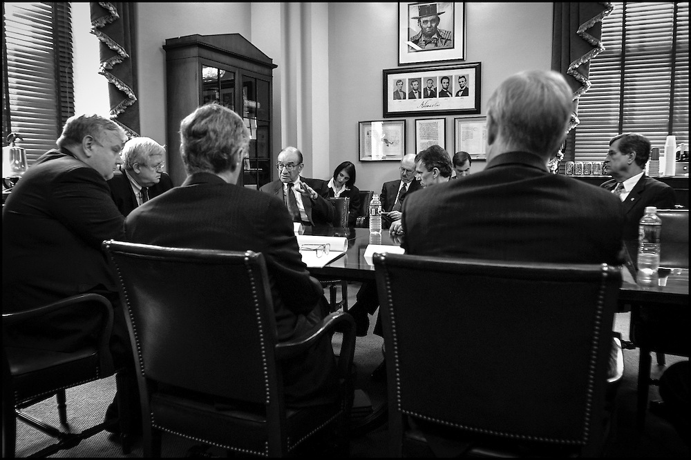 Alan Greenspan talks to Congressional Leaders along with Lawrence Lindsey, Chief Economic Adviser to the President (far left), and Robert Rubin (right of him, back to camera) Tresury Secretary under the Clinton Administration.  9/19/01..©PF BENTLEY/PFPIX.com