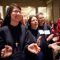 LISA JOHNSTON | lisajohnston@archstl.org  Sr. Rose Marie Timmer, Sr. Mary Cora and Sr. Mary Kathleen Ronan are from the Religious Sisters of Mercy of Alma applauded during the Rally for Religious Liberty at the Missouri State Capitol in Jefferson City, MO