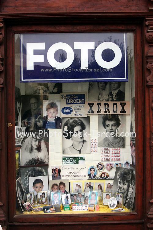 Romania, Transylvania, Biertan, old style photography shop window