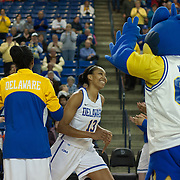Delaware Center Kelsey Buchanan (13) is introduce to the home crowd prior to a NCAA regular season non-conference game between Delaware (CAA) and St. John's (Big East) Monday, Dec 30, 2013 at The Bob Carpenter Sports Convocation Center in Newark Delaware.