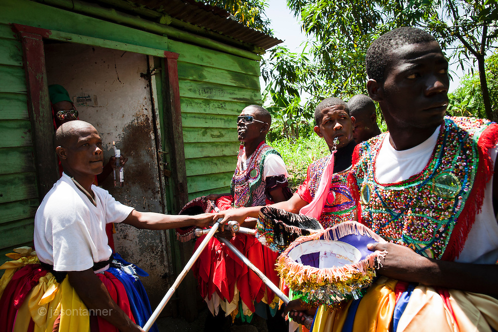 Dominican Republic: 'Mayores' or Majors receive a blessing from a local Vodú priest on the outskirts Sabana Grande de Boya as part of the GaGá  procession of El GaGá de San Luis....