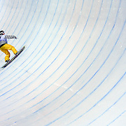 SHOT 1/25/08 7:49:15 PM - Australian snowboarder Torah Bright of Cooma, Australia approaches the wall in the superpipe during the women's finals Friday January 25, 2008 at Winter X Games Twelve in Aspen, Co. at Buttermilk Mountain. Bright (92.66) was the gold medalist in the event at Winter X 2007 but was narrowly edged out by hometown favorite Gretchen Bleiler (93.33) this year. The 12th annual winter action sports competition features athletes from across the globe competing for medals and prize money is skiing, snowboarding and snowmobile. Numerous events were broadcast live and seen in more than 120 countries. The event will remain in Aspen, Co. through 2010..(Photo by Marc Piscotty / © 2008)