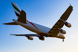 An Emirates Airbus A380 prepares to land at London's Heathrow Airport (LHR / EGLL).