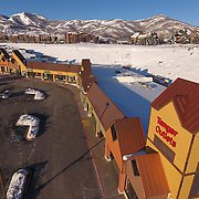 SHOT 3/2/17 7:51:54 AM - Aerial photos of Park City, Utah. Park City lies east of Salt Lake City in the western state of Utah. Framed by the craggy Wasatch Range, it's bordered by the Deer Valley Resort and the huge Park City Mountain Resort, both known for their ski slopes. Utah Olympic Park, to the north, hosted the 2002 Winter Olympics and is now predominantly a training facility. In town, Main Street is lined with buildings built primarily during a 19th-century silver mining boom that have become numerous restaurants, bars and shops. (Photo by Marc Piscotty / © 2017)