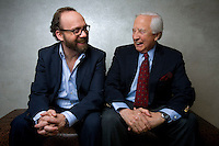 "Actor Paul Giamatti and author David McCullough pose for a portrait in the HBO building in New York. The pair worked together on the HBO mini-series ""John Adams""."