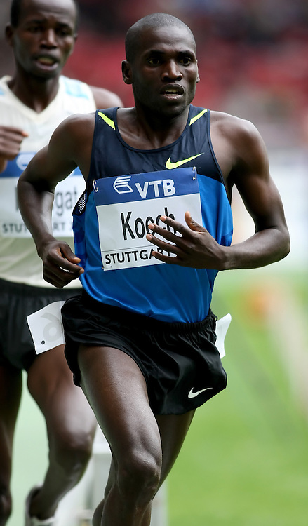 (Stuttgart, Germany---14 September 2008) Paul Kipsiele Koech of Kenya running to victory (8:05.35) in the 3000m steeple chase at the 2008 World Athletics Final. [Copyright Sean W. Burges/Mundo Sport Images, 2008.]
