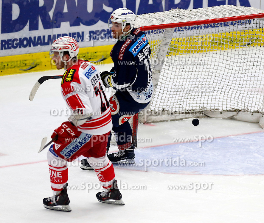 15.01.2016, Stadthalle, Villach, AUT, EBEL, EC VSV vs EC KAC, 43. Runde, im Bild das Tor zum 1:4 von Brock McBride (VSV) // during the Erste Bank Icehockey League 43th round match between EC VSV vs EC KAC at the City Hall in Villach, Austria on 2016/01/15, EXPA Pictures © 2016, PhotoCredit: EXPA/ Oskar Hoeher