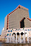 Israel Tel Aviv, The new modern residential and commercial Opera tower built over the remains of the old Opera house on the Tel Aviv beach front. has retained the original style of the original Opera house November 2005