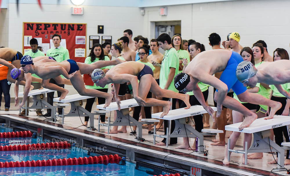 Liam Cosgrove of St. Rose won the 200 Individual Medley at The Monmouth County Swim Championships held at the Neptune Aquatic Center in Neptune, NJ, on Saturday, January 10, 2015. (Russ DeSantis Photography and Video, LLC