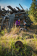 Yukon Territory, Canada, September 2014. A log cabin complete with pots and pans  in a wood camp on the banks of the Yukon River is a silent witness of the Gold Rush. During this Yukon River canoe trip we paddled part of the Klondike Gold Rush route of 1898. We camped on the banks of the Yukon River in authentic northern wilderness and explored the gold rush relics on the way. Photo by Frits Meyst / MeystPhoto.com