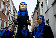 Giant Fatima of vzw Chams and FMV took part in a Giant Parade in Borgerhout, a troubled neighbourhood of Antwerpen. Taking part in historic initiatives like the Giant Parade are clear signs of how the Moroccan community is trying to integrate and become a part of Belgian society without loosing their own identity. Antwerp, Belgium, 2012.