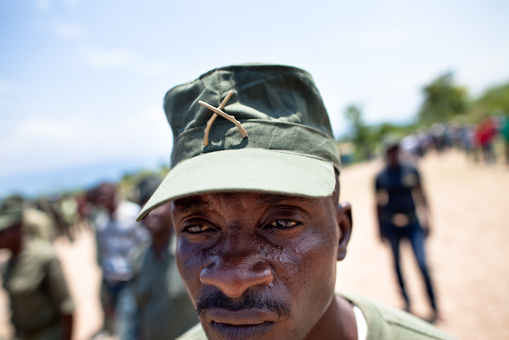 New recruits to the army do drills for six hours three times a week at this camp. Though not yet officially recognized by the government, the defunct Haitian army is gathering in training camps across Haiti. The army was disbanded in 1995 by Jean Bertrand Aristide with the help of the U.S. and UN after the the army successfully overthrew Aristide in a coup in 1994. Army veterans who feel they must pass their knowledge on to the next generation are behind the trainings. They believe they have the support of president elect Michel Martelly, who is known to have close ties with many former army officials and who has promised to reinstate the army. This group just a few miles south of Port-au-Prince began training in March, 2010 and their numbers have since grown to more than 800.