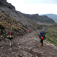 Climbing down  from the Berge', Ruales, Oleas Refuge  on Mt.  Cayambe in Northern, Ecuador.