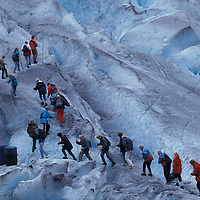 Europe, Norway, Crowds of climbers on Nigardsbreen Glacier in Jostedalsbreen National Park