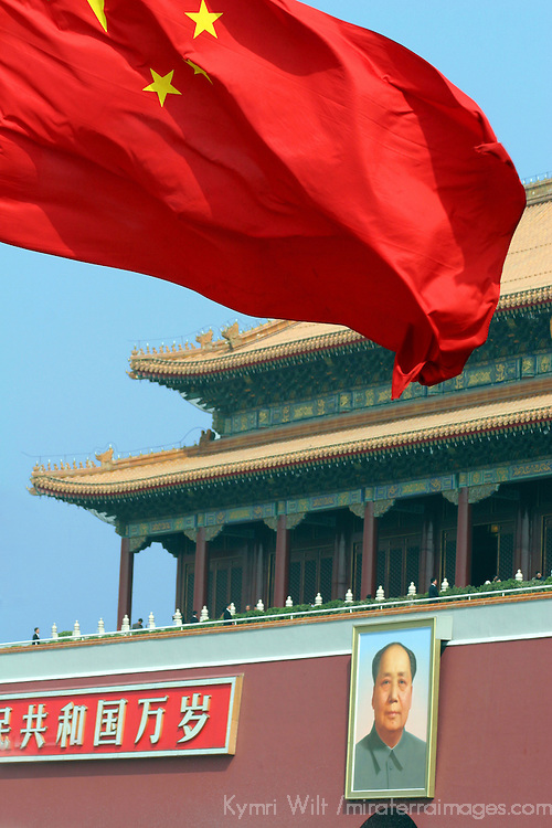 Asia, China, Beijing. Chinese Flag, Forbidden Palace, and Mao.