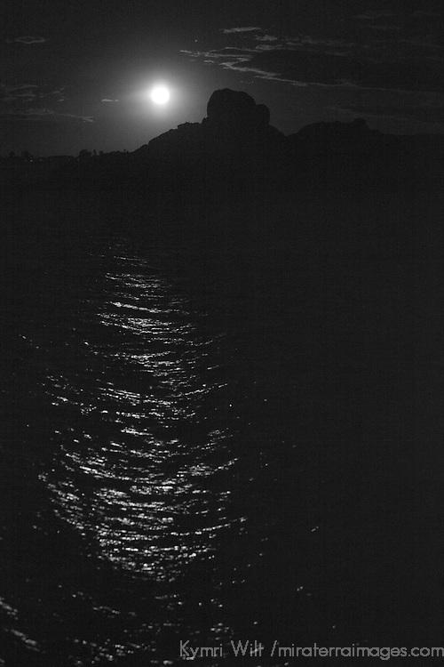 South America, Peru, Laka Titicaca. Full moon over Lake Titicaca.