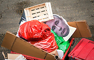 Cardboard cut out of Russian president Vladimir Putin thrown out in a rubbish bin, London, Britain - 2016