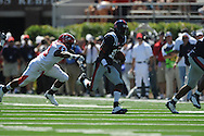 Ole Miss wide receiver Jesse Grandy (10) is chased by Jacksonville State linebacker Morrell Jones (43) at Vaught-Hemingway Stadium in Oxford, Miss. on Saturday, September 4, 2010.