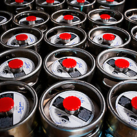 MIAMI, FLORIDA -- July 11, 2015 -- Kegs sit ready to go to restaurants at the new Biscayne Bay Brewing Company in Miami, Florida.  (PHOTO / CHIP LITHERLAND)