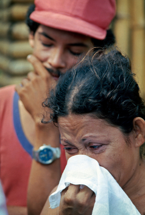 Nicaraguan Civil War refugees outside of Leon, Nicaragua -1978 - after government National Guard troops entered the city and killing an undetermined number of civilians.