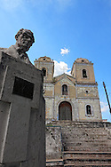 Church and bust in Arcos de Canasi, Mayabeque Province, Cuba.
